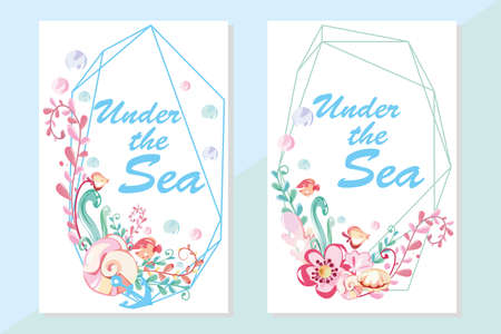 sea round wreath , shell and corals, starfish and pearl, invitation card template with geometric frame. 일러스트
