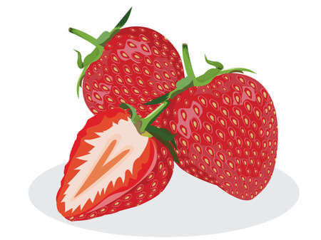 Three strawberries with strawberry leaf and strawberry slash on white background. Vettoriali