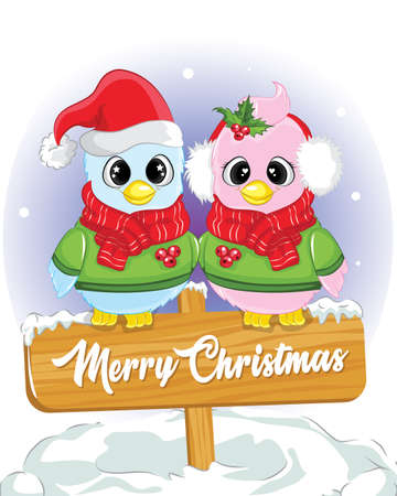 Merry christmas card with couple cute bird. poster of christmas day. Vettoriali
