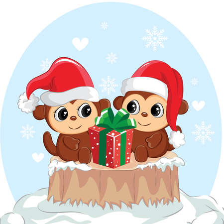 Illustration of couple monkey with gift box. Cute monkey for christmas day.