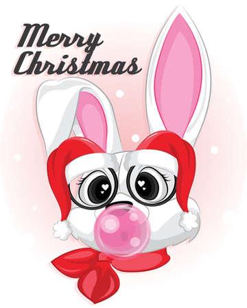 White rabbit with santa hat eyeglasses. Baby White bunny on christmas background Stock fotó - 157833619
