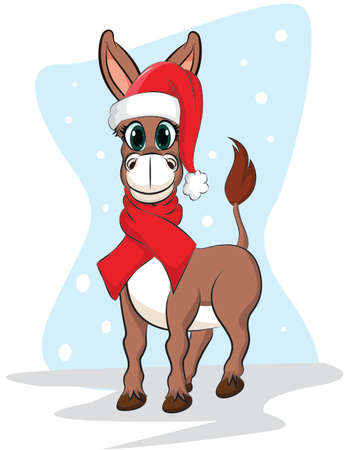 Vector illustration of a happy donkey in Santa Claus hat