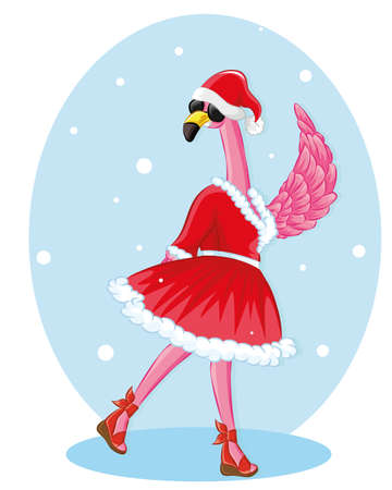 Flamingo with santa hat and black glassless. merry christmas greeting card