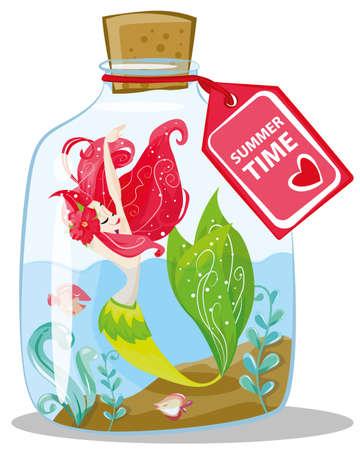 Marine illustrations. Little cute cartoon red hair mermaid in bottles cartoon illustration for summer holidays. Vektorové ilustrace