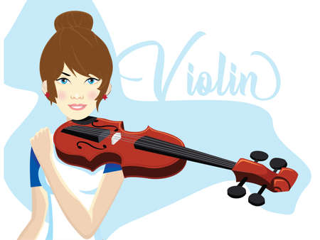 girl Playing Violin tutorial, Talented Young Violinist Character Playing Acoustic Musical Instrument, Concert of Classical Music Vector Illustration