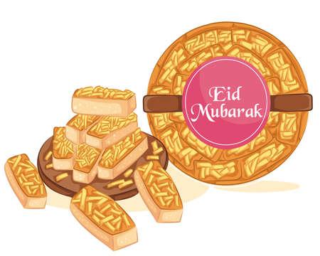 Kaasstengels cookies. Castangle cheese or Kastengel Keju to celebrate Eid al Fitr. 矢量图片