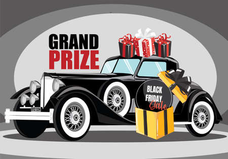 black retro car. black vintage car. Concept Of grand prize black friday sale Program
