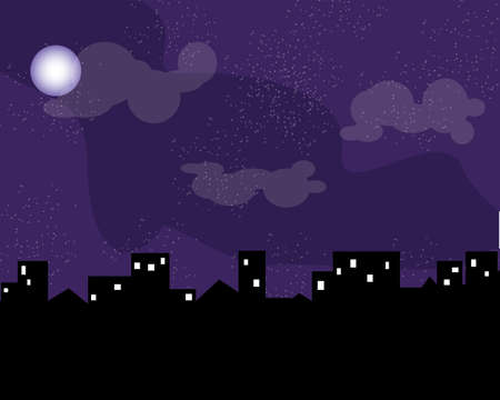 Night city skyline silhouette. Old traditional rooftops and twilight sky