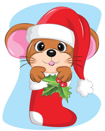 cute mouse in christmas sock with snow and snowflake. Illustration about winter , christmas and holiday.