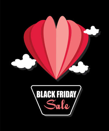 Red hot air balloon in the shape of a heart. black friday sale banner concept.