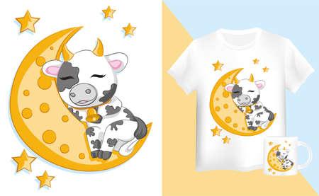 mock up shirt and mug for children Cute Cartoon Bull is sleeping on the moon Vector Illustratie