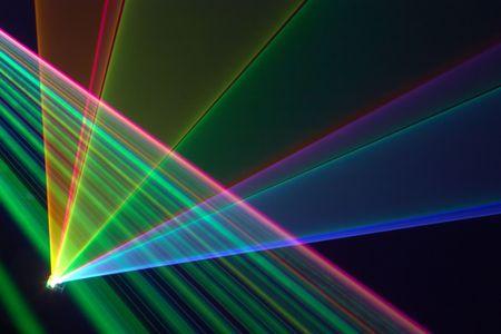 Kleur laserstralen Fantail in een waas