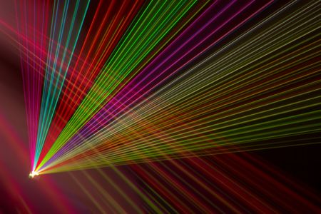 fantail: Color laser beams fantail in a haze Stock Photo