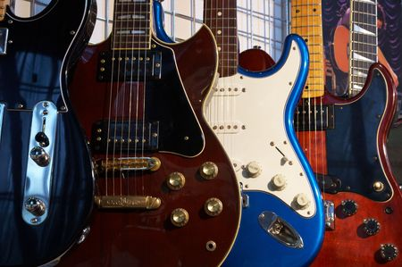 guitars: Close-up of electric guitars in a music shop Stock Photo