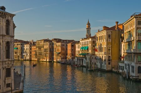 rialto bridge: Sunset view of Grand Canale in Venice from Rialto Bridge Stock Photo