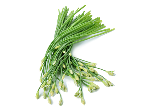 chives: Chinese chives on white background