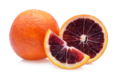 Blood red oranges isolated on white background Standard-Bild