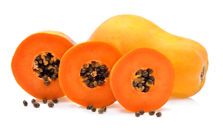 cutaneous: ripe papaya isolated on a white background