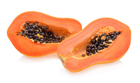 cutaneous: ripe papaya isolated on a white background
