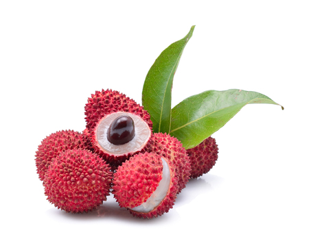 Fresh lychees isolated on white Standard-Bild