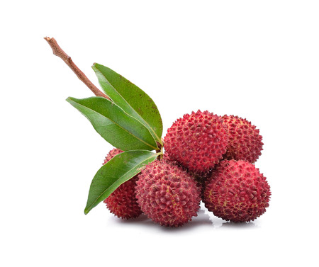 Fresh lychees isolated on white Stock Photo