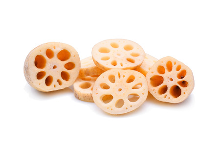 Lotus root isolate on white background