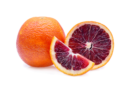 Blood red oranges isolated on white Stock Photo