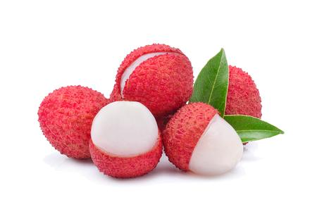 leechee: Fresh lychees isolated on white Stock Photo