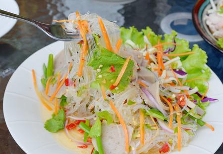 sen: spicy noodle salad, spicy vermicelli salad (yum woon sen). Thai food