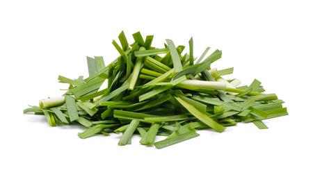 cebollin: Garlic chives isolated on white Foto de archivo