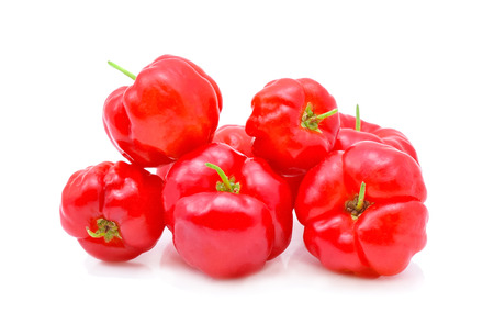 Barbados cherry,Ripe thai cherry isolated on white