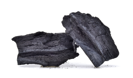 combust: natural wood charcoal isolated on white  Stock Photo