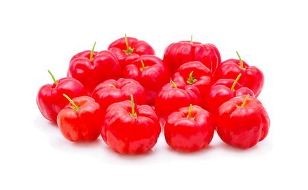 Barbados cherry,Ripe thai cherry isolated on white background