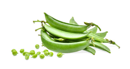 snap bean: snow beans isolated on white background