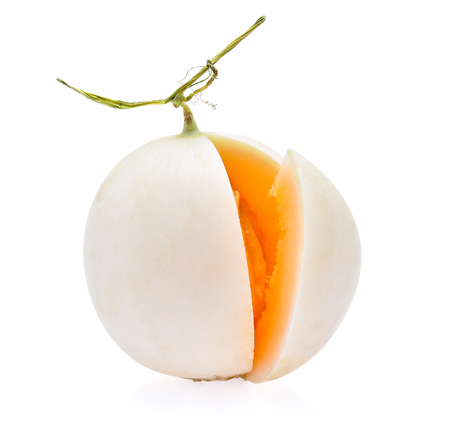 Cantaloupe: Ripe cantaloupe melon on white background