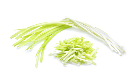 garlic chives isoalted on white background