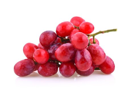 red grapes with water drops isolated on white background Standard-Bild