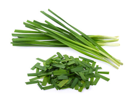 Chinese chives, Garlic chives isolated on white background