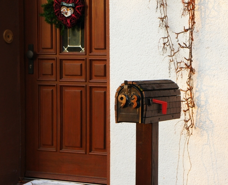 postbox: Retro style german postbox. christmas mail