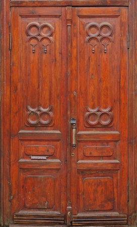 three dimensional accessibility: old church door Stock Photo