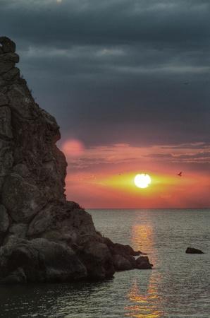 azov sea: Crimean coast. Sunset. Azov sea. Before the storm