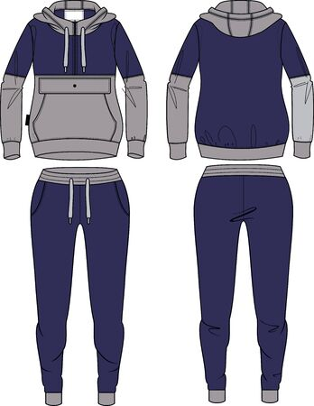 woman sport suit hooded ziper design template drawing