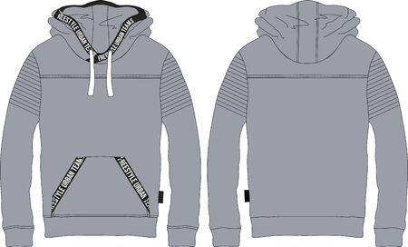 Boys man teens hoodie long sleeve t-shirt wear technical template textile cotton drawing pattern