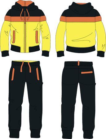 man suit set zipper hoodie jacket joggers pants yellow template