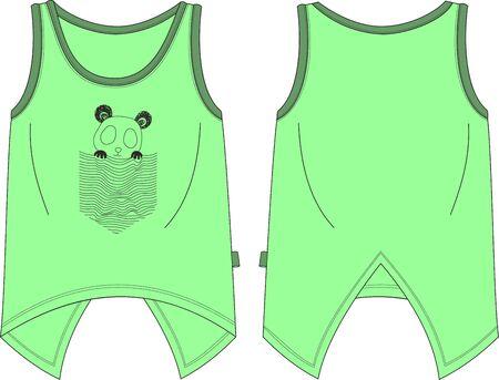 Girls fit tank shirt panda template pattern