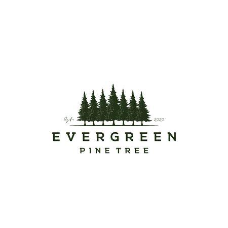 Retro Vintage Pines, Evergreen, Hemlock, Spruce, Cedar trees logo design vector