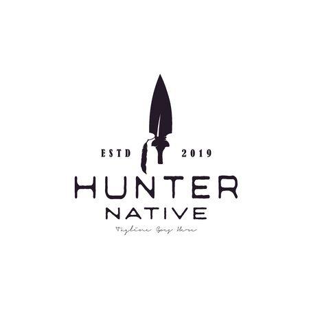 Vintage Retro Arrowhead Spear Hunting Hipster Logo Design