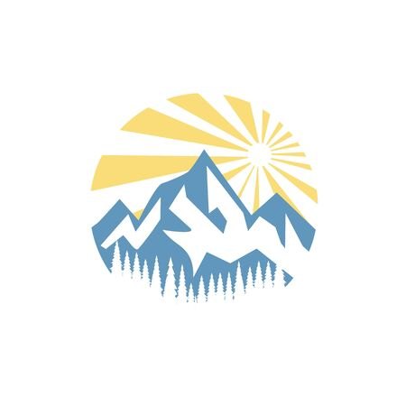 Ice mountain with pine tree and sunrise logo design
