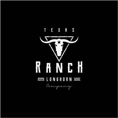 Texas Longhorn, Country Western Bull Cattle Vintage Retro Logo Design. Logo