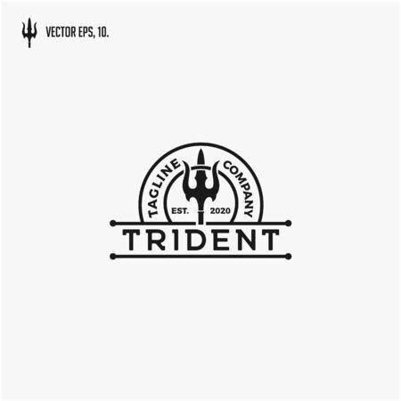 Vintage Trident symbol, Poseidon Neptune God Triton King logo design.
